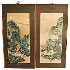 Asian art series of 4 panels