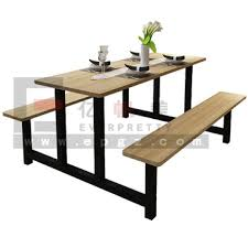 school lunch table. 4 Seaters Fastfood Table And Chair Set, Lunch With Bench, Dinner For School