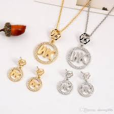 2019 2018 europe and the united states big gold m letter hexagonal diamond necklace pendant earrings jewelry two pieces jewelry set from ong888