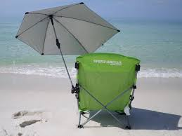 this beach chair with a clamp on umbrella comes with us on every beach trip the umbrella can be adjusted and tilted in any direction so you can always sit