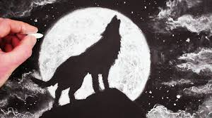 Drawn Wolf How To Draw A Wolf Howling At The Moon Step By Step Youtube