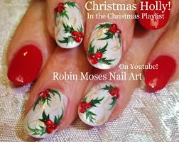 Easy Christmas Nail Art | Xmas Holly Nails On White Nails Design ...