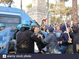 Rome, Italy. 09th Oct, 2021. Forza Nuova far right party leader Giuliano  Castellino (in the middle of the photo) is seen in the riots against