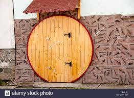 Decorating circular door images : Round circular wooden door on house in Sura Mica Romania Eastern ...