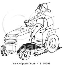 lawnmower drawing. black and white man on a riding lawn mower lawnmower drawing o