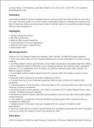 Resume Templates: Medical Support Assistant