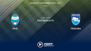 Live SPAL - Pescara la 8e journée de Serie B 2020/2021 21/11