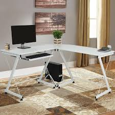 image corner computer. Wood L-Shape Corner Computer Desk PC Laptop Table Workstation Home Office - White Image