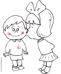 Kids coloring book pages - Kiss on Cheek