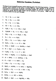 worksheet writing and balancing chemical reactions equations post grade 10 science chemistry worksheets