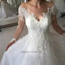 Beaded Designer Wedding Gowns Latest Design Beaded Wedding Gowns Long Sleeve Lace Wedding Dress 2017 Ball Gown Bridal Dresses Brush Train Vestidos De Noivas
