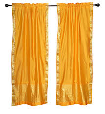 Indian Curtain Designs Pictures 2 Boho Yellow Indian Sari Curtains Rod Pocket Window Panels Drapes