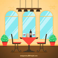 table for two. table for two, flat style restaurant scene free vector two