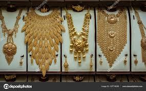Dubai Gold Jewellery Designs Photos Images Gold Necklace In Dubai Dubai Uae Mar 2018 Massive