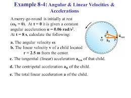 example 8 4 angular linear velocities accelerations a merry go
