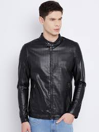 the indian garage co black cut out detail faux leather jacket jackets for men 1604111 myntra