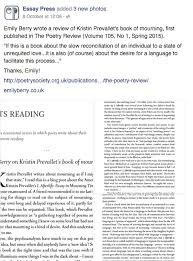 emily berry an thing i wrote on mourning psychoanalysis and kristin prevallet s i afterlife an
