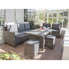 kettler palma outdoor sofa set with table rattan taupe