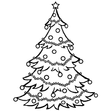 Clipart Black And White Christmas Tree #1
