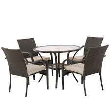 Outdoor wicker dining sets White Amazoncom Great Deal Furniture Novena Outdoor Brown Wicker 5piece Dining Set With Cushions Garden Outdoor Amazoncom Amazoncom Great Deal Furniture Novena Outdoor Brown Wicker