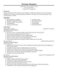 Resume Objectives For General Job General Labor Resume Objective