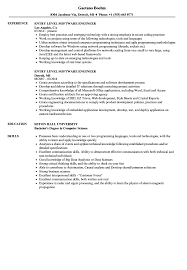 017 Template Ideas Entry Level Software Engineer Resume Sample