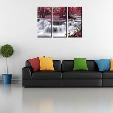 hot sale good quality framed photo canvas prints red waterfall painting wall art canvas painting  on wall art painting singapore with hot sale good quality framed photo canvas prints red waterfall