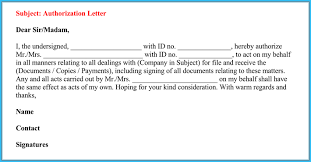 Authorization Letter To Act On Behalf Of Someone 6 Best