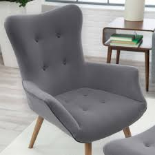 modern classic midcentury style gray accent chair and ottoman