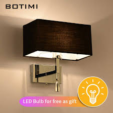 BOTIMI Modern <b>LED Wall</b> Light With Fabric Lampshade For ...