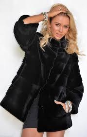 chinchilla furs exclusive sheared chinchilla rex mink collar black fur coat