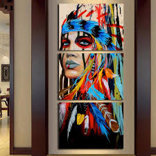 native american girl feathered women modern home wall decor canvas artworks picture art hd print painting on canvas 3 piece framed parkside ave
