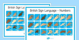 Display Numbers Primary Resources Sen Sign Language