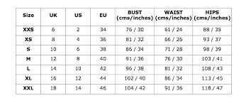 Sizing Chart Lavender Hill Clothing