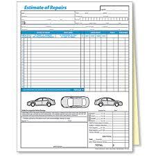 auto repair forms 2 part auto body repair estimate forms