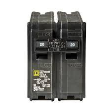 circuit breakers power distribution homeline 20 amp 2 pole circuit breaker