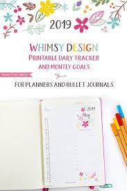 Daily Goal Tracker 2019 Task Tracker Printable Whimsy Design Monthly Goal Tracker