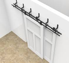 white double track barn door hardware