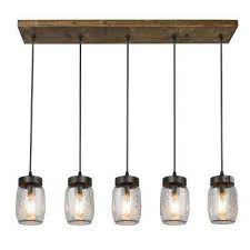 5 light rustic bronze chandelier with clear glass jar shade