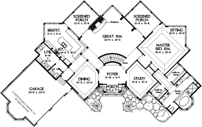 european style house plan 3 beds 3 5 baths 4113 sq ft plan 929 House Plans Sloping Roof floor plan main floor plan sloping roof house plans
