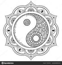 Circulaire Patroon Vorm Van Een Mandala Yin Yang Decoratieve Symbool
