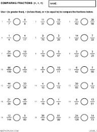 Worksheets by Math Crush: FractionsPreview of worksheets on Comparing Fractions - Level 3