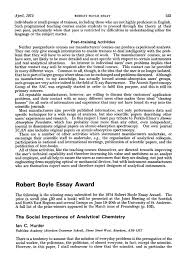 robert boyle essay award the social importance of analytical  robert boyle essay award the social importance of analytical chemistry