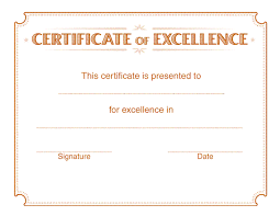 Excellence-orange-certificate-template