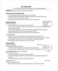 Sample Of Electrician Resumes Sample Electrician Resume Template 7 Free Documents