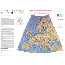 Magnetic Declination Chart Map Of Magnetic Declination In Europe 2006 Ccgm Cgmw