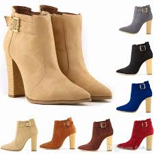 high heels ankle boots wood chunky heels shoes winter boots women bridal shoes faux suede 7 colors 2018 new fashion