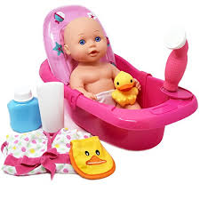 baby doll bathtub tub set featuring 12 all vinyl doll bath tub with detachable shower spray washcloth toy soap bottle and shower gel and rubber duck