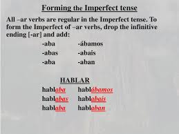 Imperfect Tense Spanish Conjugation Chart Ppt Forming The Imperfect Tense Powerpoint Presentation