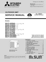 mitsubishi mr slim msz a12na service manual